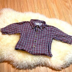 Brown red and blue plaid button up shirt 6-9M